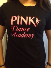 bright PINK logo black t shirt